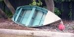Old dinghy at South Rakaia Huts, Canterbury.