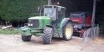 John Deere tractor and bailer at Dunsandel. Minolta 7s Rangefinder Camera.