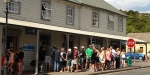 Queing for an ice cream on a hot day at Akaroa, 2013