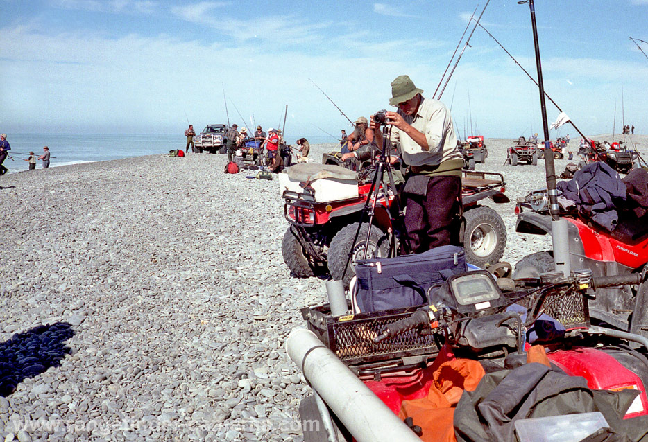 """Salmon anglers and their quad bikes at the mouth of the Rakaia River, Canterbury, New Zealand. February 2010. Photograph taken with Canon Canonet QL19 """"New"""" on Fuji Superia 400 ASA film. Negative scanned with Epson 2480 flatbed scanner."""