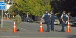 Police and army cordon around Christchurch Central City red zone. Photograph taken 24 February 2011