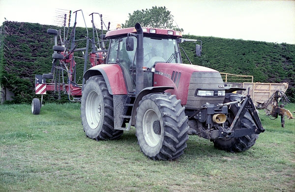 Case 170hp with rotary rake at Dunsandel. Minolta 7s Rangefinder Camera