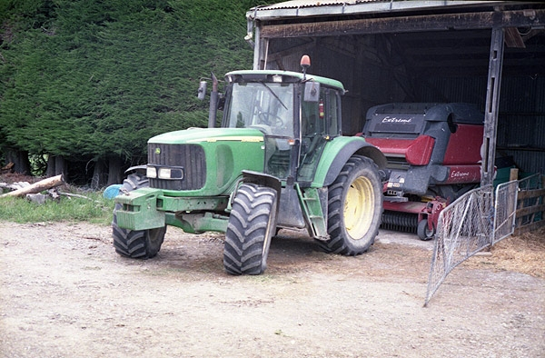 John Deere tractor and bailer at Dunsandel. Minolta 7s Rangefinder Camera.