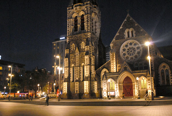 Christchurch Cathedral pictured at night. This photograph was taken on 4 November 2010 between the two earthquakes. The big earthquake occurred just three months later on 22 September 2011.