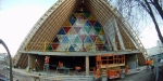 Transitional Cathedral in Latimer Square, Christchurch, nearing completion. The unusual construction features 98, 120-kilogram cardboard tubes.
