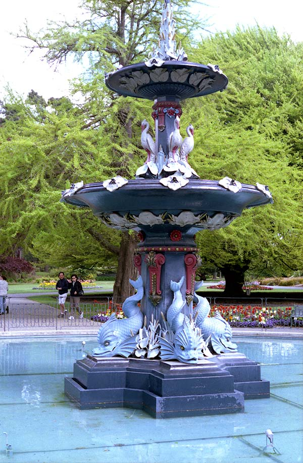 Peacock Fountain in the Christchurch Botanic Gardens.