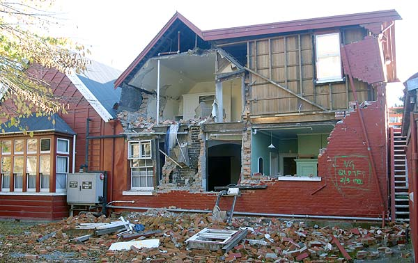 Old Christchurch building badly damaged.