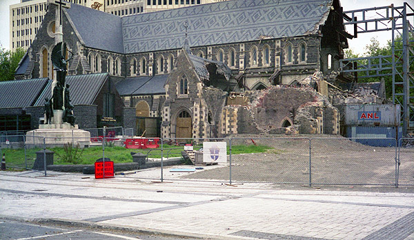 The remains of Christchurch Anglican Cathedral. Photograph taken November 2012. Yashica Electro 35