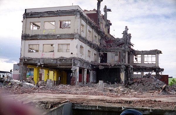 Old Christchurch Central Railway Station during demolition.