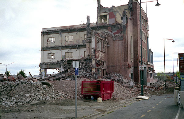 Old Christchurch Railway Station during demolition. Late November 2012.Yashica Electro 35
