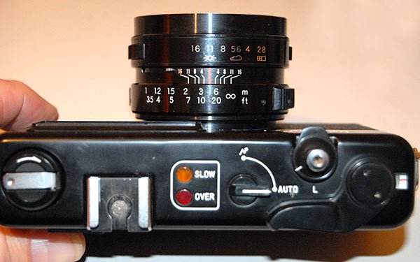 Yashica MG-1. The simple light system allows for correct expose without looking through the view-finder.
