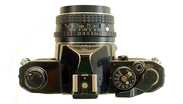 Pentax MX black paint model. View of top plate.