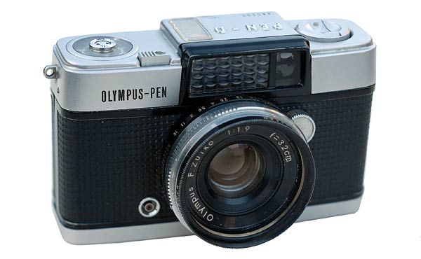 The Olympus-Pen D Half Frame is a handsome small compact camera that is well made and robust. This one is still going well after 53 years.