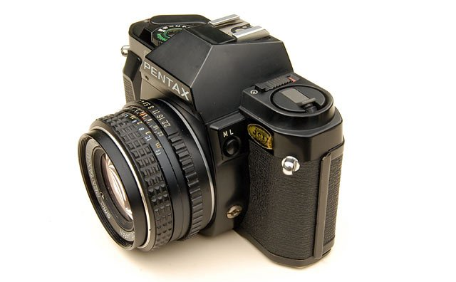 Pentax P30 showing shutter release socket and exposure lock.