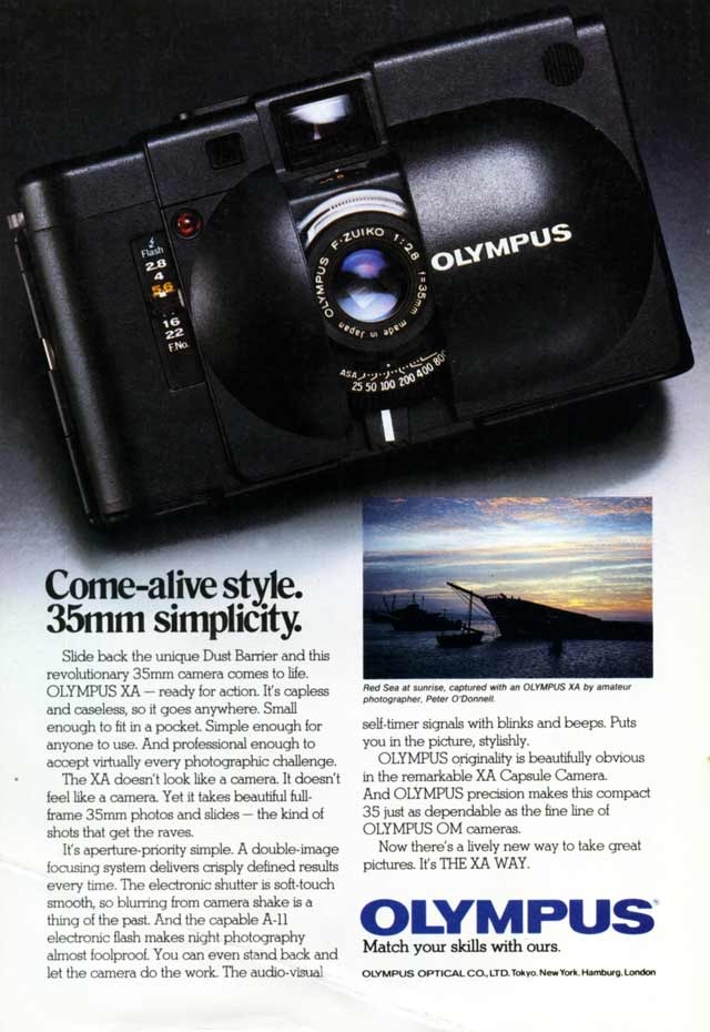 Advertisement for the Olympus XA as it appeared in National Geographic in 1982.